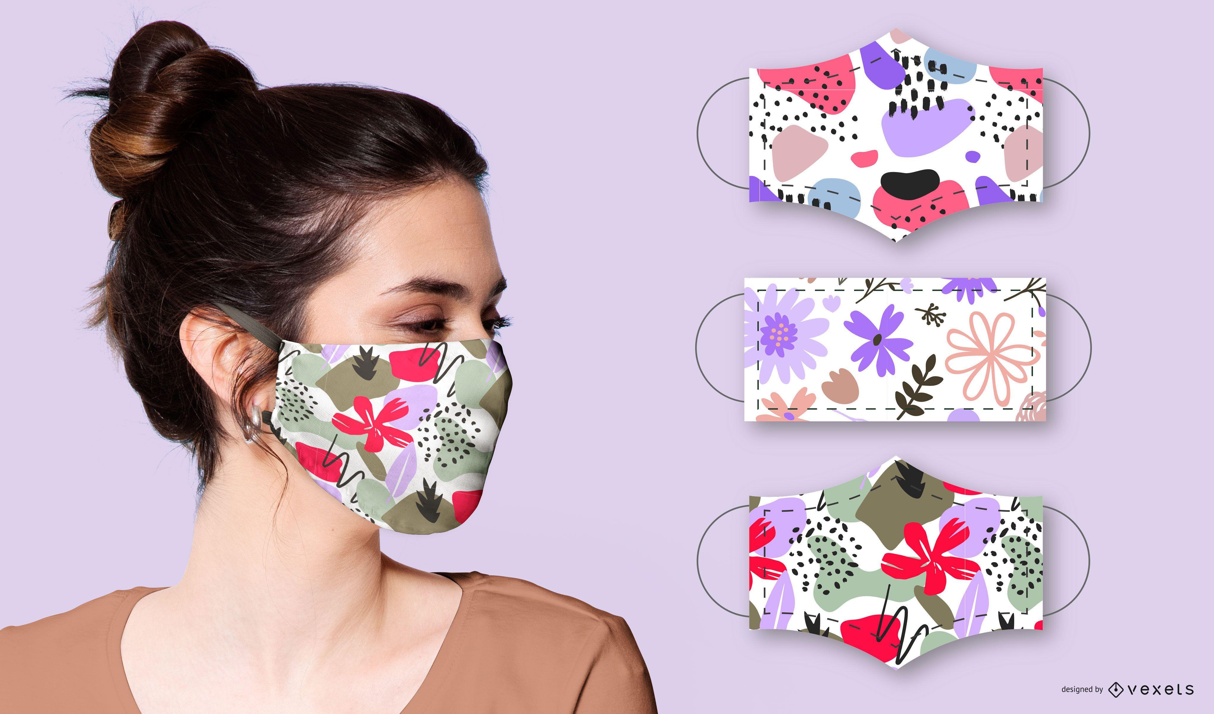 Paquete de dise?o de mascarilla facial Flora Abstract