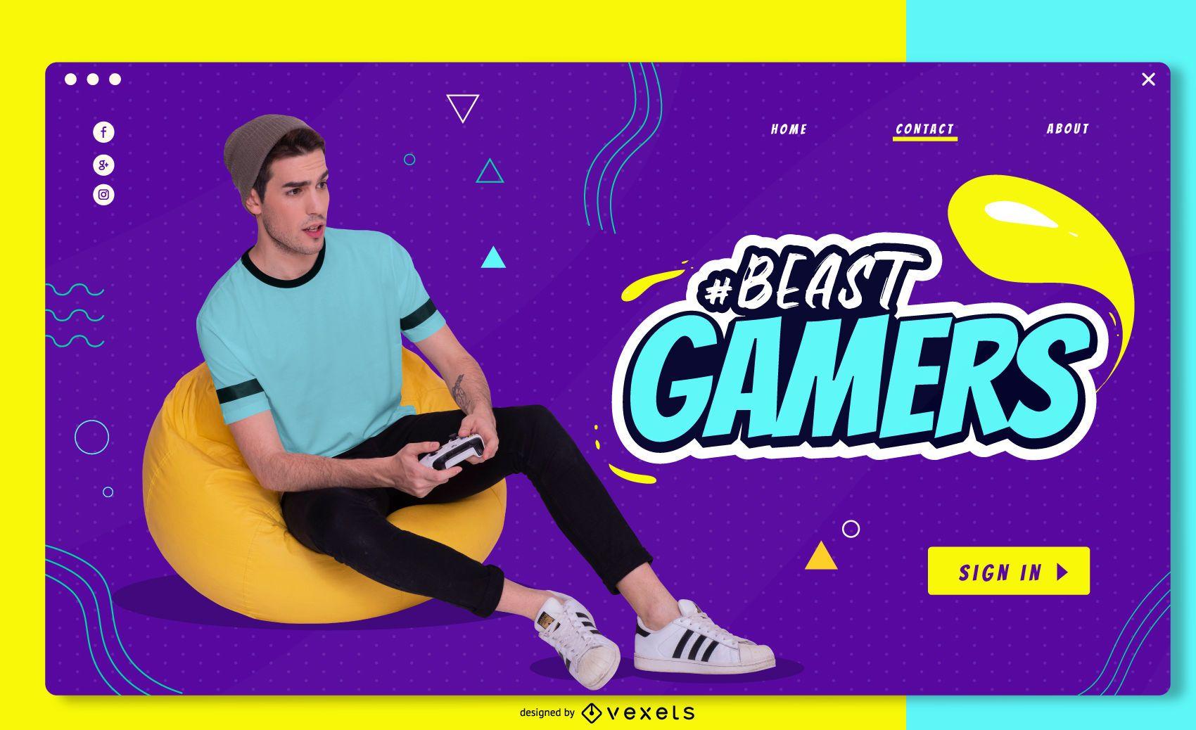 Dise?o deslizante de pantalla completa de Beast Gamers