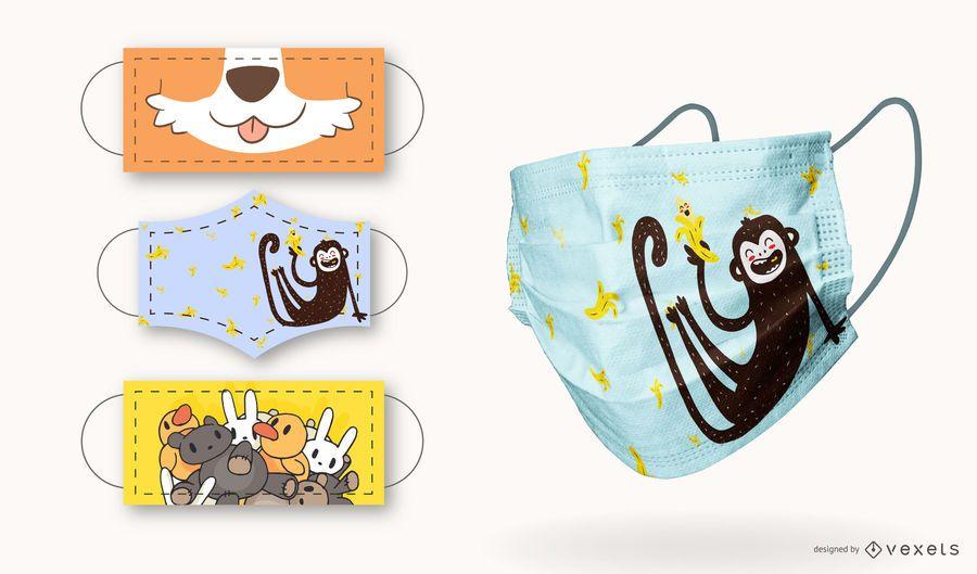 Cute Animals Children Face Mask Design Set
