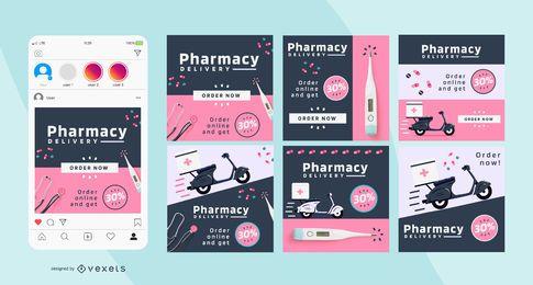 Pacote de postagem social da Farmácia Business Square