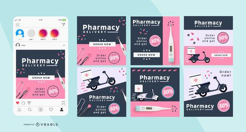 Pharmacy Business Square Social Post pack