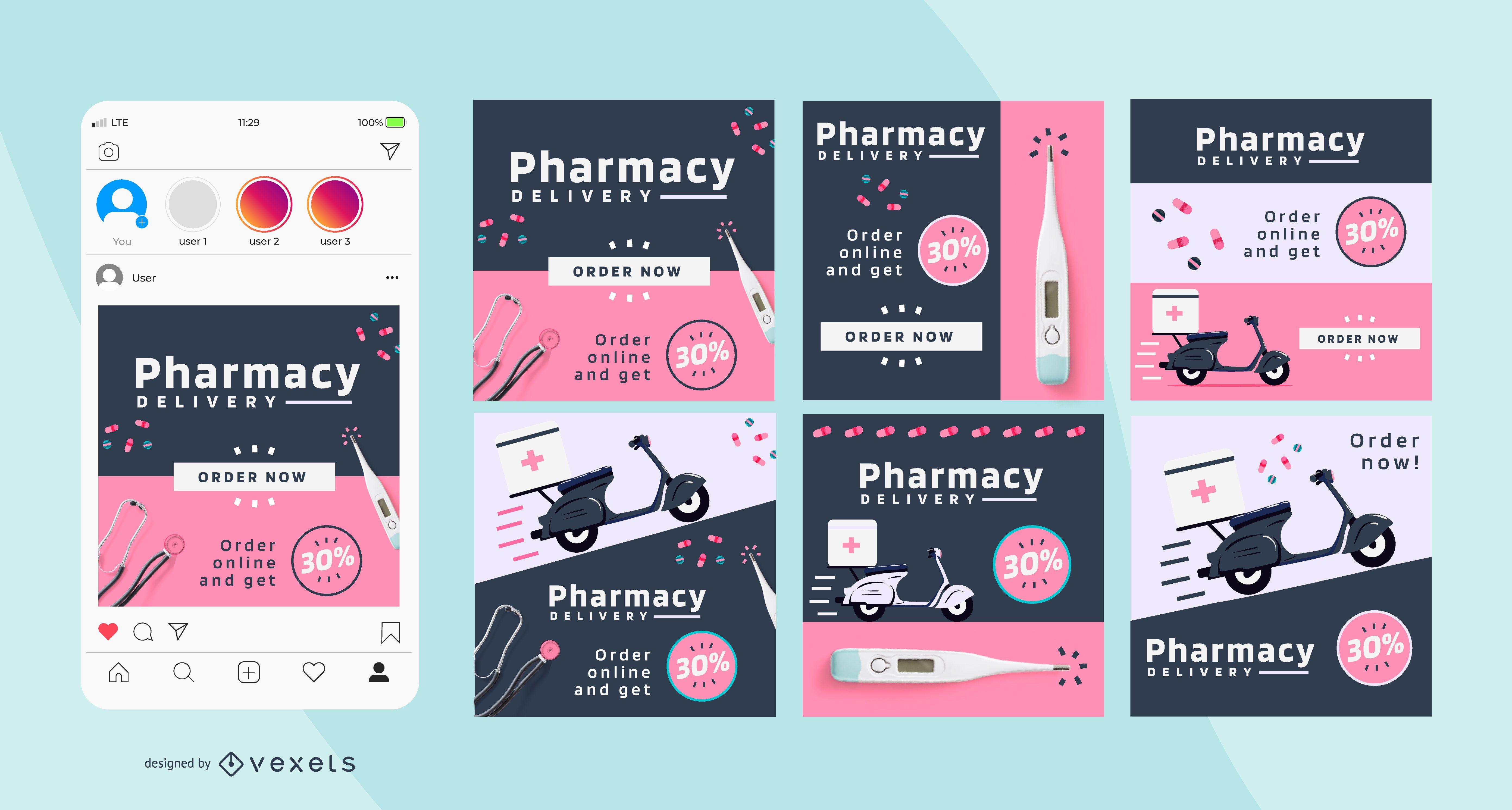 Paquete de publicaciones sociales de Pharmacy Business Square