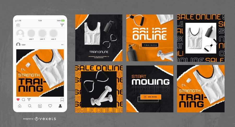 Fitness Training Square Post Design Pack
