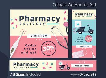 Pacote de banners do Google Ads para entrega em farmácias