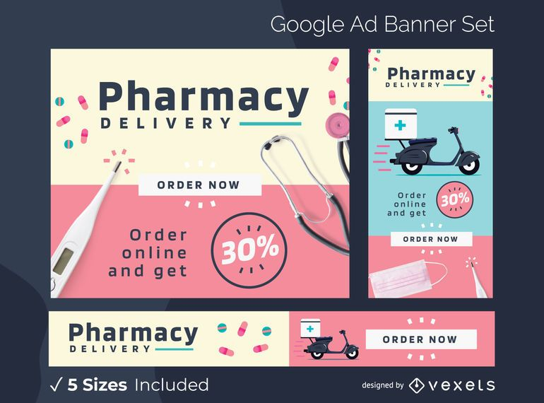 Pharmacy Delivery Google Ads Banner Pack
