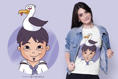 Sailor and Seagull T-shirt Design