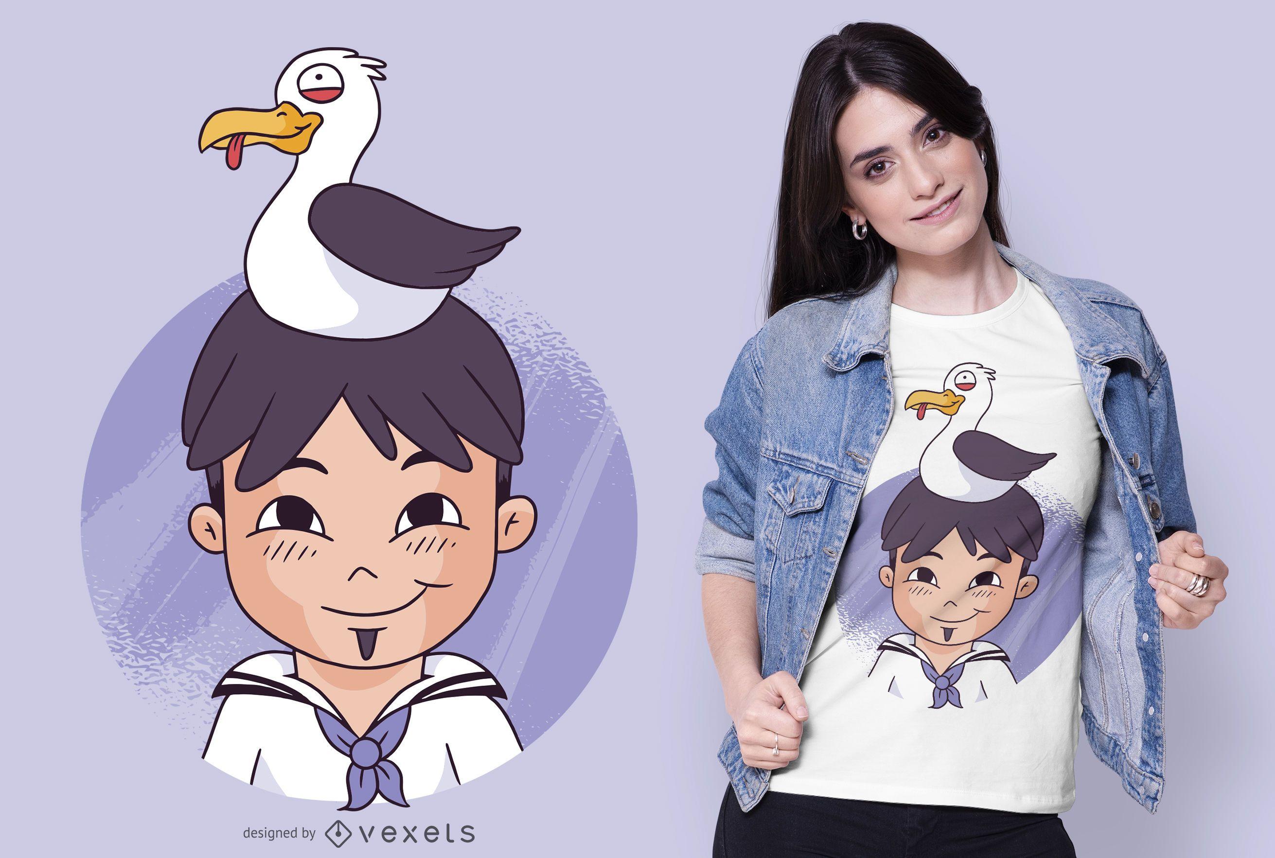 Diseño de camiseta de marinero y gaviota.