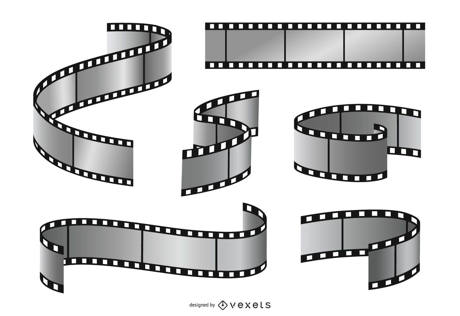 Conjunto de ilustração de tira de filme