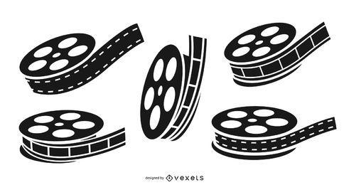 Conjunto de carrete de película negro