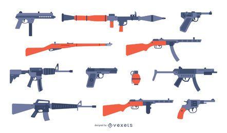 Colección de pistolas planas