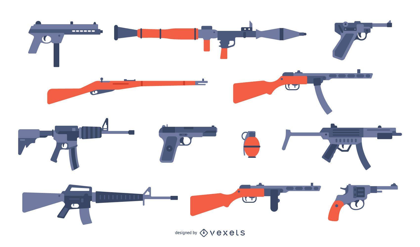 Guns flat collection
