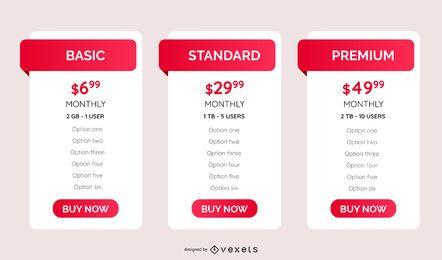 modelo de tabela de planos de preços