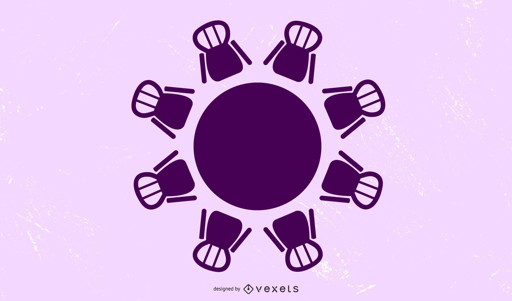 purple table chairs illustration