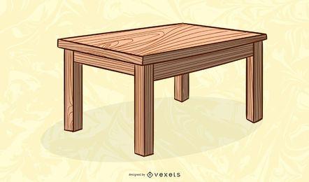 ilustração de mesa de madeira retangular