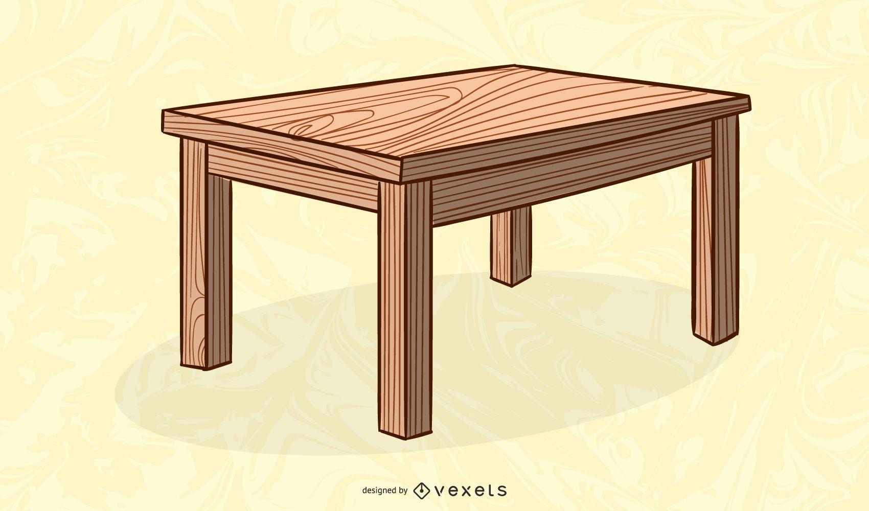 ilustraci?n de mesa de madera rectangular