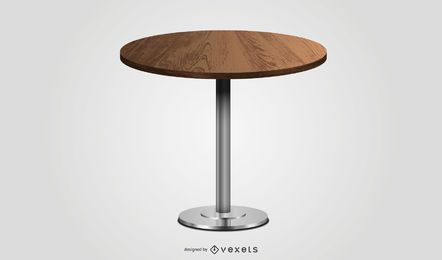 round wooden table illustration