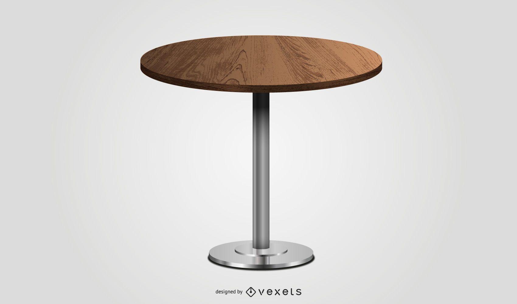 round wooden table illustration