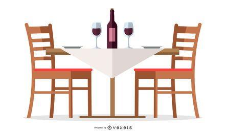 Diseño de mesa de vino de restaurante