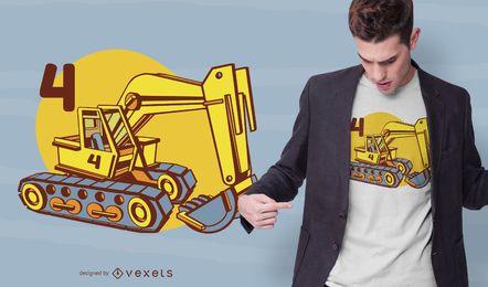 Design de camiseta retroescavadeira quatro