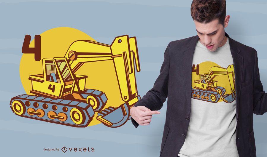 Retroescavadeira quatro t-shirt design