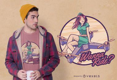 Design de camiseta com citação de menina drone