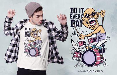 Schlagzeuger Cartoon Zitat T-Shirt Design