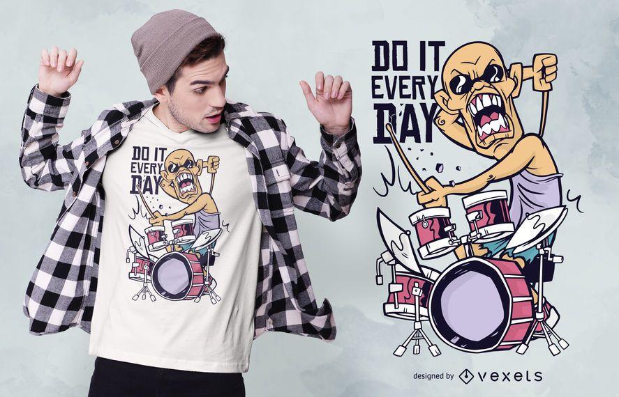 Diseño de camiseta de cita de dibujos animados de baterista