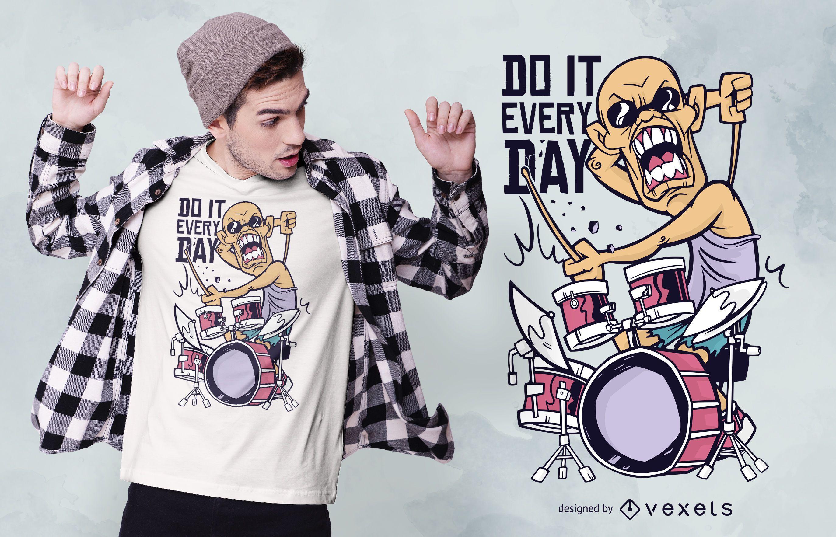 Drummer Cartoon Quote T-shirt Design