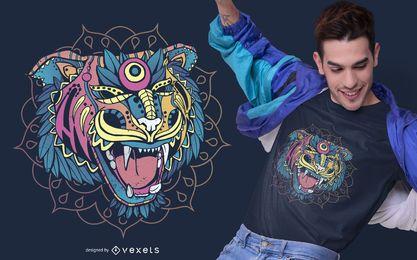Diseño de camiseta de tigre Huichol