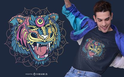 Huichol Tiger T-shirt Design