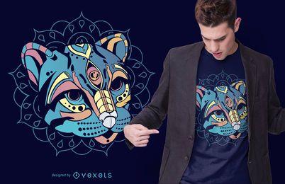 Diseño de camiseta de huichol ocelote