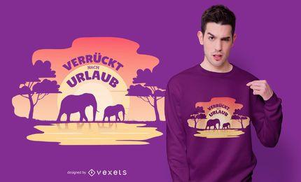Diseño de camiseta de cita alemana de vacaciones africanas