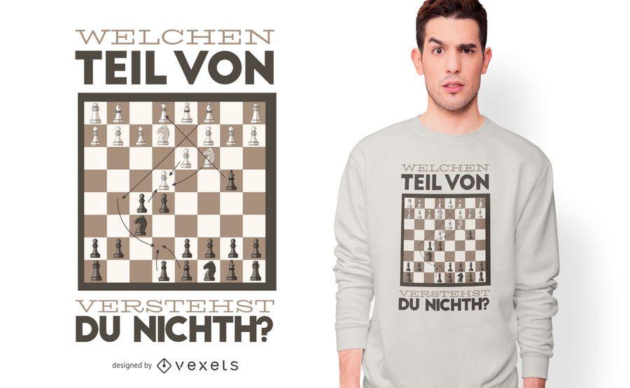 Diseño divertido de la camiseta de la cita alemana del ajedrez