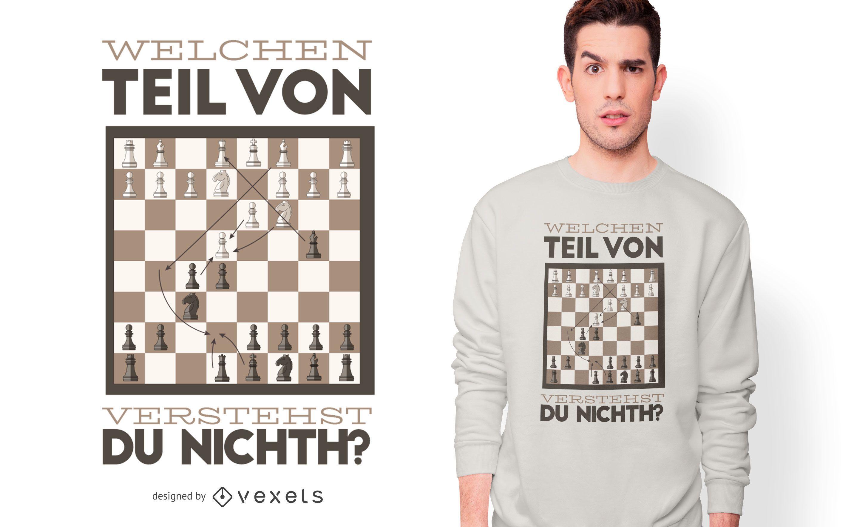 Diseño de camiseta de cita alemana de ajedrez divertido
