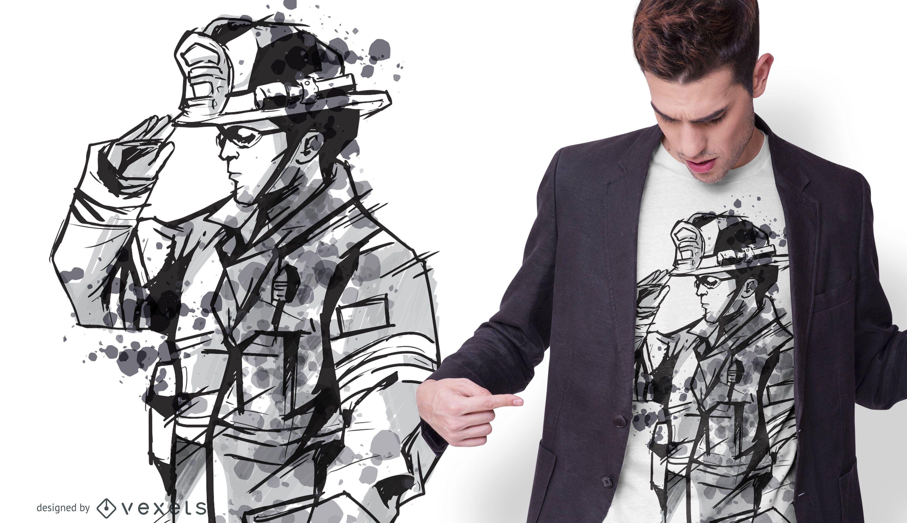 Projeto de camiseta de bombeiro em aquarela