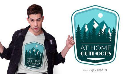 Diseño de camiseta de cita de insignia al aire libre