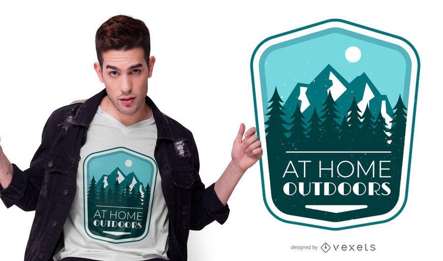 Design de t-shirt de citação de distintivo ao ar livre