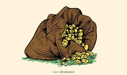 Saco rachado com milho