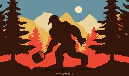 Pickaball Sasquatch Silueta Ilustración