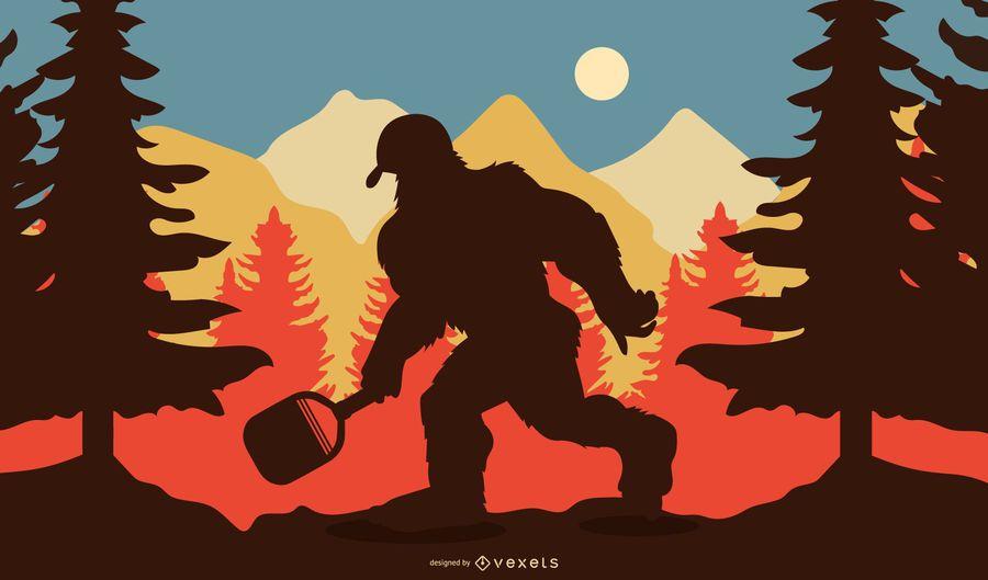 Pickaball Sasquatch Silhouette Illustration