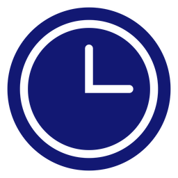Analog clock icon blue