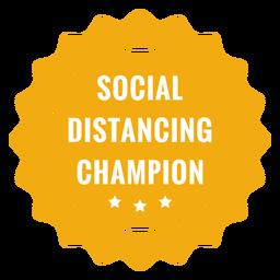 Badge campeão de distanciamento social