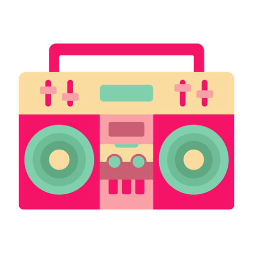 Boombox casette flat sticker