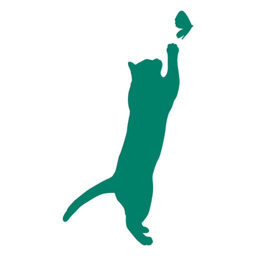 Cat playing butterfly silhouette Transparent PNG