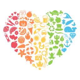 Corazón de temporada colorida