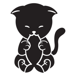 Lindo gato comiendo pescado negro