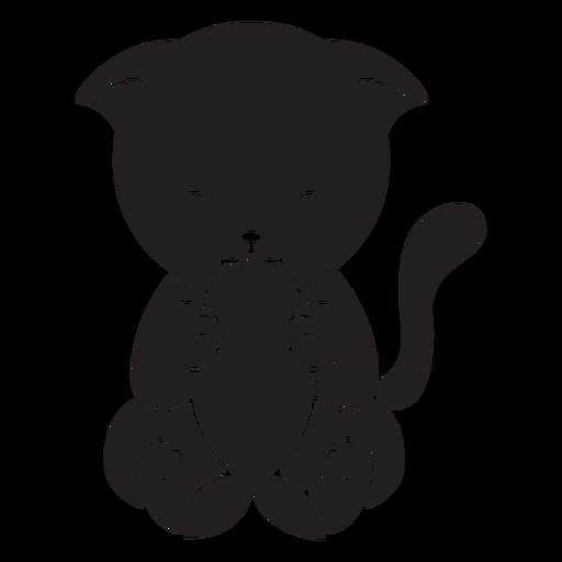 Lindo gato comiendo pescado negro Transparent PNG