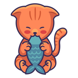 Cute cat eating fish illustration