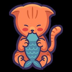 Lindo gato comiendo ilustración de pescado