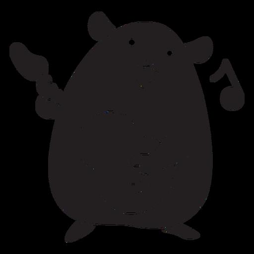 Cute hamster playing guitar black